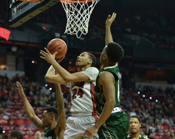 UNLV Rebels guard Jalen Poyser (24) shoots the ball during a game against Colorado State at the Thomas & Mack Center in Las Vegas on Saturday, Feb. 13, 2016. Brett Le Blanc/Las Vegas Review-Jo ...