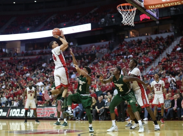 UNLV Rebels guard Jalen Poyser (24) shoots the ball during a game against Colorado State at the Thomas & Mack Center in Las Vegas on Saturday, Feb. 13, 2016. (Brett Le Blanc/Las Vegas Review-J ...