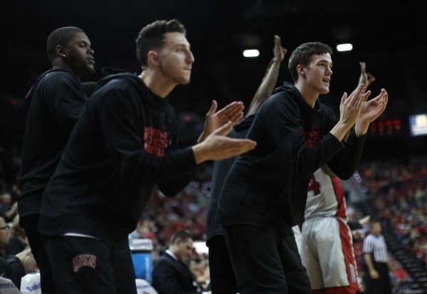 The UNLV Rebels bench celebrates during a game against Colorado State at the Thomas & Mack Center in Las Vegas on Saturday, Feb. 13, 2016. Brett Le Blanc/Las Vegas Review-Journal Follow @blebl ...