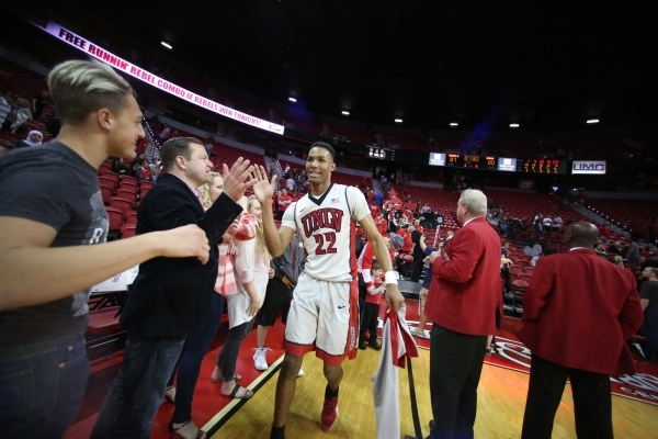 UNLV Rebels guard Patrick McCaw (22) high-fives fans after a game against Colorado State at the Thomas & Mack Center in Las Vegas on Saturday, Feb. 13, 2016. Brett Le Blanc/Las Vegas Review-Jo ...