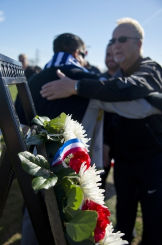 A wreath symbolizing peace and unity is seen during opening ceremonies for the Las Vegas MayorþÄôs Cup International Showcase at the Bettye Wilson Soccer Complex in Las Vegas Saturday, Fe ...