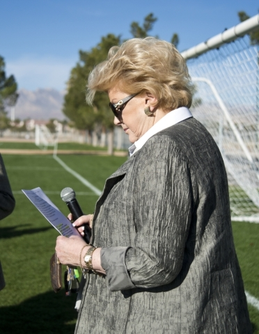 Las Vegas Mayor Carolyn G. Goodman prepares to walk onto the field during opening ceremonies for the Las Vegas MayorþÄôs Cup International Showcase at the Bettye Wilson Soccer Complex in  ...