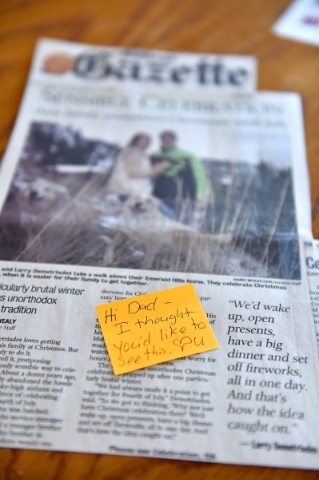 A newspaper article is displayed in the Henderson home of Oliver Phillips Tuesday, Feb. 9, 2016. Phillips, 85, died in January from injuries from a beating in his home by a paid escort. David Beck ...
