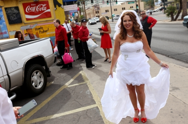 Bride Alanna Ramsey arrives at the Graceland Wedding Chapel in Las Vegas, Sunday, Feb. 14, 2016. Rachel Aston/Las Vegas Review-Journal Follow @rookie__rae