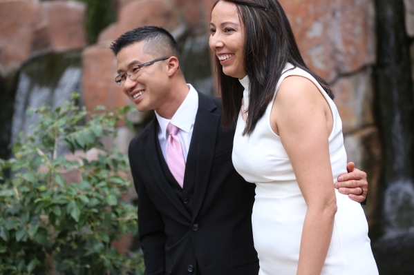 Tony and Jessica Wong at their wedding ceremony at the Garden Chapel at the Flamingo in Las Vegas, Sunday, Feb. 14, 2016. Rachel Aston/Las Vegas Review-Journal Follow @rookie__rae