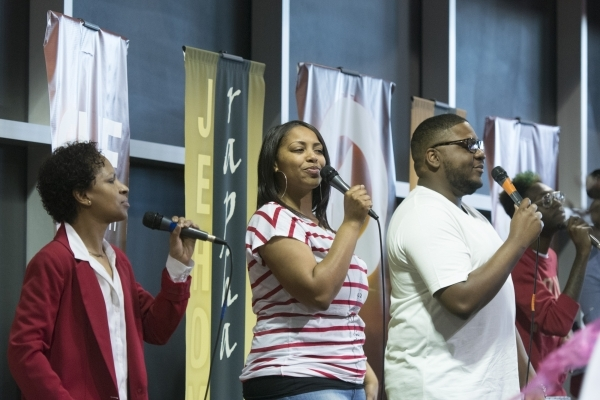Tiffany Beard, second from left, and other members of the Worship Culture choir perform during services at Christian Embassy Worship Center at 2020 Olympic Ave. in Henderson Sunday, Feb. 14, 2016. ...