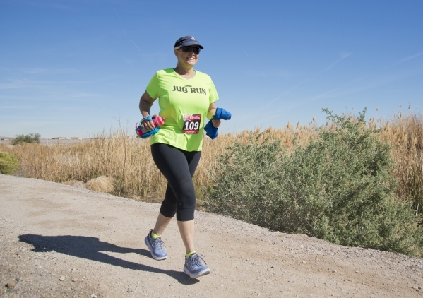 Cynthia Ganey runs during the Jackpot Ultra Running Festival at Cornerstone Park in Henderson on Friday, Feb. 12, 2016. Ganey is currently organizing the seventh annual Moms Rock! at the Diane Sny ...