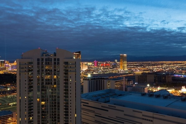 A night view of the Strip from a nearly  $8 million Turnberry Towers penthouse. COURTESY