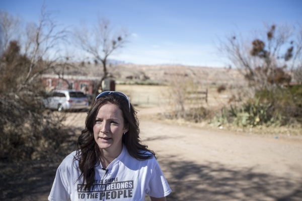 Briana Bundy, daughter-in-law of rancher Cliven Bundy, speaks on last night's FBI arrest of Bundy while at the family's ranch on Thursday, Feb. 11, 2016, near Bunkerville, Nev. Erik Ve ...