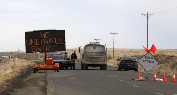 A law enforcement checkpoint is shown near the Malheur Wildlife Refuge outside of Burns, Ore., on Thursday, Feb. 11, 2016. Jim Urquhart/Reuters