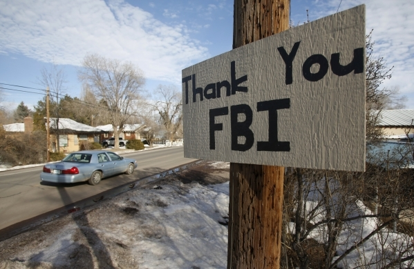 A sign thanking the FBI hangs in Burns, Ore., on Thursday, Feb. 11, 2016. Jim Urquhart/Reuters