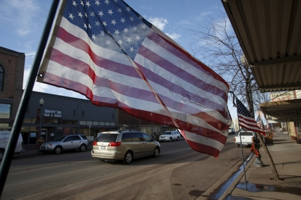 American flags line Broadway Ave. in Burns, Ore., on Thursday, Feb. 11, 2016. Jim Urquhart/Reuters