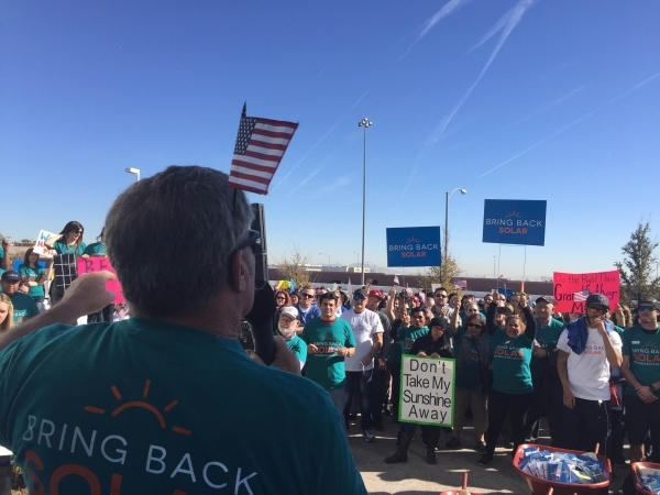 Valley homeowner James Katzen, who has 19 solar panels on his home, speaks out against rate changes in front of the Las Vegas Public Utilities Commission building on Feb. 12, 2016. Alexander S. Co ...