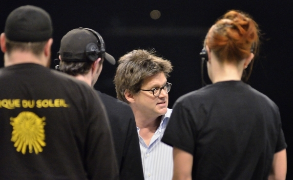 Director Dominic Champagne talks with cast and crew members during a rehearsal for Cirque du Soleil's þÄúLoveþÄù at the Mirage at 3400 Las Vegas Blvd. S. on Friday, Feb. 12 ...