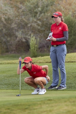 Kaylee Benton, a freshman on UNLV women's golf team, lines up a putt during round 3 of the Las Vegas Collegiate Showdown at Boulder Creek Golf Club on Tuesday, Oct. 27, 2015. Courtesy, R. Ma ...