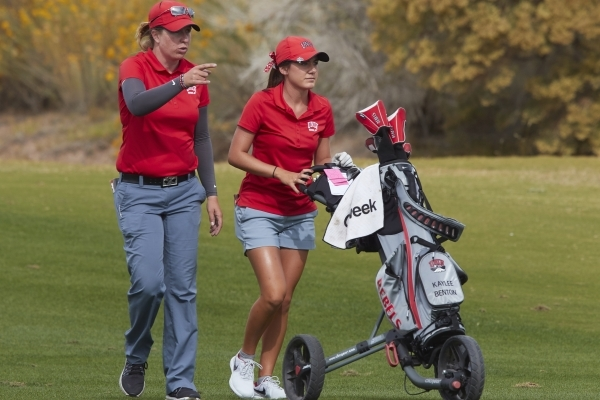 Kaylee Benton, a freshman on UNLV women's golf team, pushes her clubs during round 3 of the Las Vegas Collegiate Showdown at Boulder Creek Golf Club on Tuesday, Oct. 27, 2015. Courtesy, R. M ...
