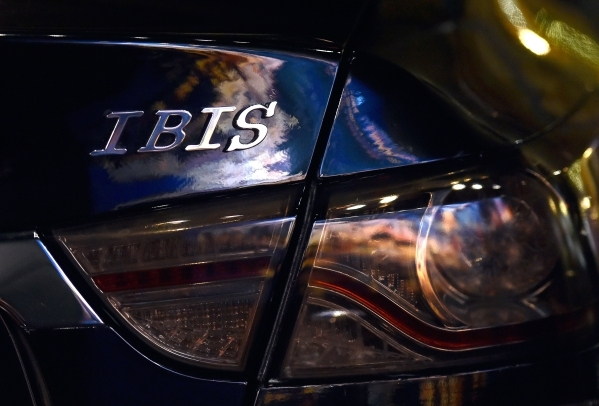 2050 Motors' Ibis prototype, an all electric and carbon fiber body automobile is displayed at the William Carr Gallery at Tivoli Village Friday, Feb. 12, 2016, in Las Vegas. 2050 Motors is i ...