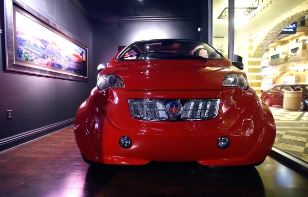 2050 Motors' e-Go prototype, an all electric and carbon fiber body automobile is displayed at the William Carr Gallery at Tivoli Village Friday, Feb. 12, 2016, in Las Vegas. 2050 Motors is i ...