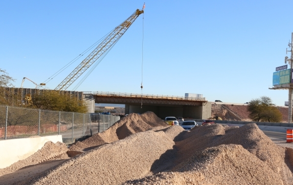 The 215 Beltway is seen during the ongoing construction of the Airport Connector Project on Tuesday, Feb. 9, 2016. The project will reduce the number of travel lanes on a ¬½-mile section of ea ...