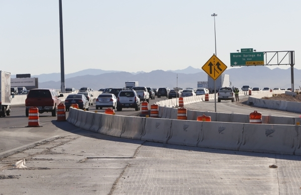The ongoing construction as seen on Tuesday, Feb. 9, 2016 of the Airport Connector Project will reduce the number of travel lanes on a ¬½-mile section of eastbound 215 Beltway between exit 10  ...