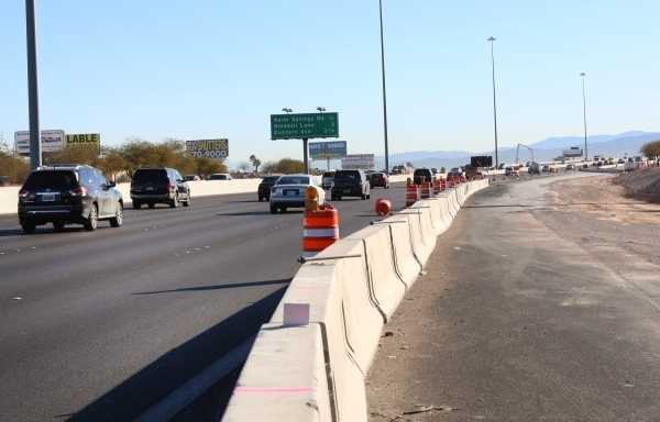The ongoing construction of the Airport Connector Project as seen on Tuesday, Feb. 9, 2016 will reduce the number of travel lanes on a ¬½-mile section of eastbound 215 Beltway between exit 10  ...