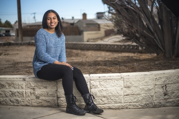 Jaida Nash, a student at College of Southern Nevada and recipient of the Silver State Opportunity Grand, poses for a photo at her home in Las Vegas on Saturday, Feb. 13, 2016. Joshua Dahl/Las Vega ...