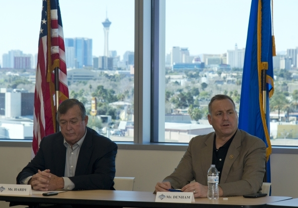 U.S. Rep. Cresent Hardy, R-Nev., left, and U.S. Rep. Jeff Denham, R-Calif., participate in a roundtable discussion on transportation issues inside North Las Vegas City Hall, on Monday, Feb. 15, 20 ...