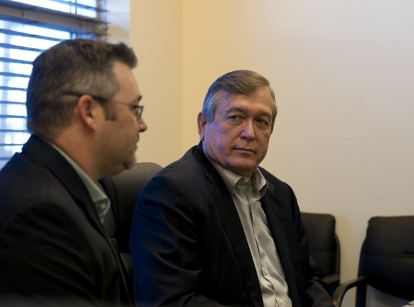 U.S. Rep. Cresent Hardy, R-Nev., right, listens as Brandon Taylor speaks inside GeoTek, his consulting engineering firm near McCarran International Airport, on Monday, Feb. 15, 2016. Daniel Clark/ ...