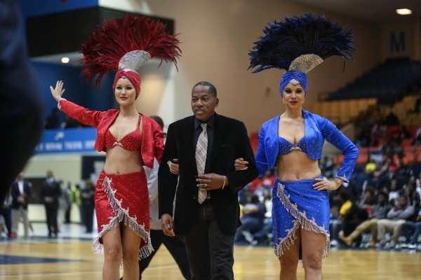 Las Vegas showgirls joined Clark County Commissioner and LVCVA Chairman Lawrence Weekly at Jackson State University on Monday, Feb. 8, 2016, to promote UNLV's Sept. 1 season opener against t ...
