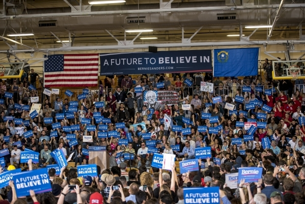 The crowd at Bonanza High School waits for the arrival of Democratic presidential candidate Bernie Sanders in Las Vegas on Sunday, Feb. 14, 2016. Joshua Dahl/Las Vegas Review-Journal