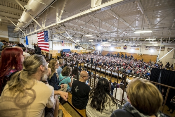 The crowd listens as Democratic presidential candidate Bernie Sanders speaks during a rally at Bonanza High School in Las Vegas on Sunday, Feb. 14, 2016. Joshua Dahl/Las Vegas Review-Journal