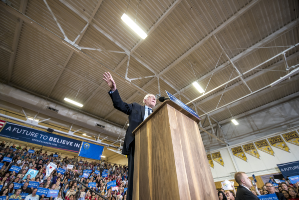 Democratic presidential candidate Bernie Sanders speaks during a rally at Bonanza High School in Las Vegas on Sunday, Feb. 14, 2016. Joshua Dahl/Las Vegas Review-Journal