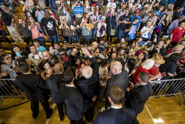 Democratic presidential candidate Bernie Sanders talks with supporters during a rally at Bonanza High School in Las Vegas on Sunday, Feb. 14, 2016. Joshua Dahl/Las Vegas Review-Journal