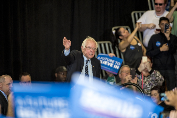 Democratic presidential candidate Bernie Sanders walks on stage during a rally at Bonanza High School in Las Vegas on Sunday, Feb. 14, 2016. Joshua Dahl/Las Vegas Review-Journal