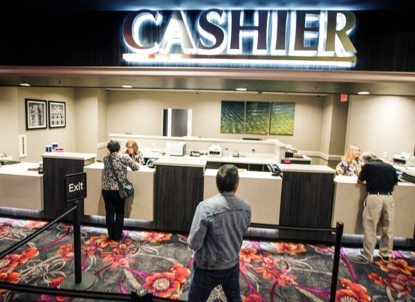 The recently remolded cashier cage is seen Tuesday, Feb, 16, 2016  in California Hotel & Casino, 12 East Ogden Avenue.  Boyd Gaming is spending $100M to upgrade property. Jeff Scheid/Las Vegas ...