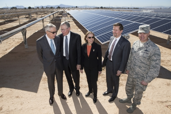 U.S. Rep. Harry Reid, D-Nev., from left, Paul Caudill, president and CEO of NV Energy, Miranda Ballentine, assistant secretary of the Air Force for installations, environment and energy, Tom Werne ...