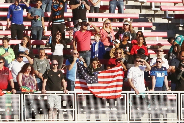 Fans watch the soccer game between Team Figo and Team Donovan during the Global Legends Series match at Sam Boyd Stadium on Saturday, Feb. 20, 2016, in Las Vegas. Bizuayehu Tesfaye/Las Vegas Revie ...