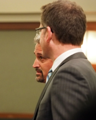 Former counseling service owner Steven Brox is seen behind his attorney Robert Draskovich as he is sentenced in the courthouse fraud involving suspended defense lawyer Brian Bloomfield and his cli ...