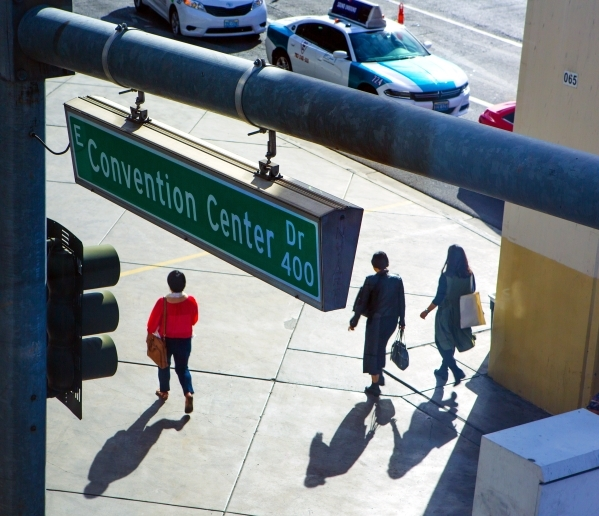 People walk to the Las Vegas Convention Center on Wednesday, Feb. 17, 2016. Jeff Scheid/Las Vegas Review-Journal Follow @jlscheid