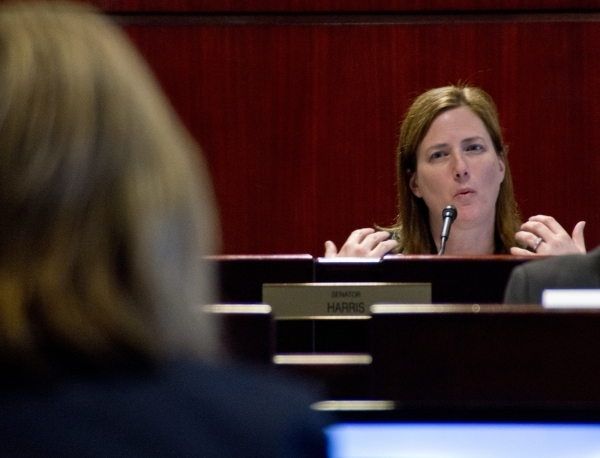 State Sen. Becky Harris, R-Las Vegas, chair of the Technical Advisory Committee to Develop a Plan to Reorganize the Clark County School District, asks a question during a meeting of the committee  ...