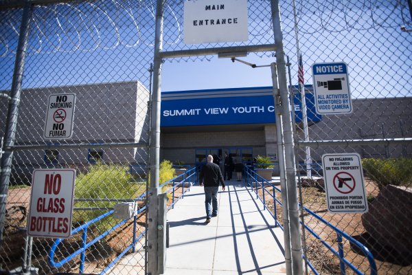 A man walks in the front entrance of the  Summit View Youth Correctional Center, a 48-bed facility in North Las Vegas, on Friday, Feb.26, 2016. Jeff Scheid/Las Vegas Review-Journal Follow @jlscheid
