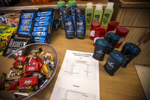Snacks and hygiene products is seen Friday, Feb.26, 2016   at Summit View Youth Correctional Center, a 48-bed  facility in North Las Vegas. The juveniles get the items when they earn bonus points. ...