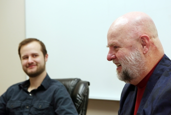 James Dean Leavitt, 54, right, and his son Jesse, 26, participate in an interview at James´ business MM Lab on Friday, Feb. 19, 2016, in Las Vegas. The father-and-son duo is slated to graduate  ...