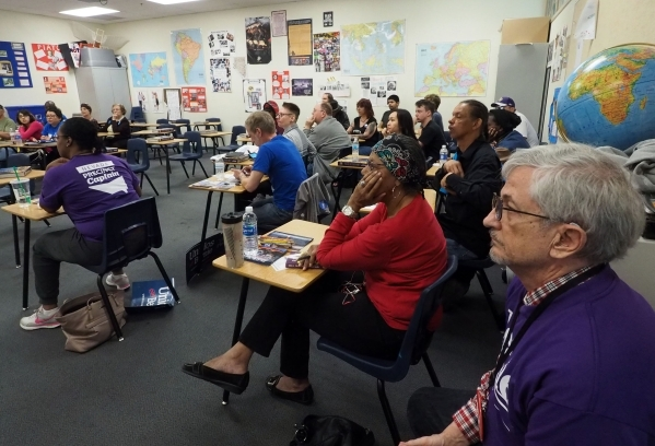 Caucus attendees from Precinct 4510 discuss the caucus procedures at the Nevada Democratic state caucus Rancho High School in Las Vegas, Saturday, Feb. 20, 2016. Jerry Henkel/Las Vegas Review-Journal