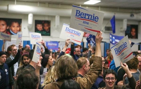 Bernie Sanders supporters rally at the Democratic Caucus at Libby Booth Elementary School in Reno, Nev. on Saturday, Feb. 20, 2016. Cathleen Allison/Las Vegas Review-Journal