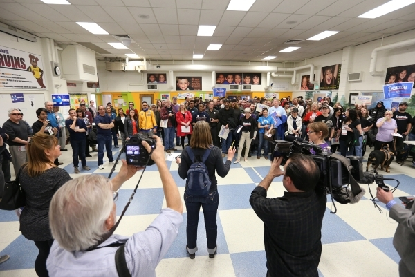 Caucus attendees listen to instructions at the Democratic Caucus at Libby Booth Elementary School in Reno, Nev. on Saturday, Feb. 20, 2016. Cathleen Allison/Las Vegas Review-Journal