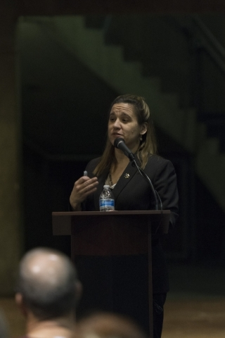 """Lisa Gavin, medical examiner with the Clark County Office of the Coroner/Medical Examiner, speaks during the Forensics Day  """"Demystifying the Forensic Sciences"""" panel at the Las Vegas Li ..."""