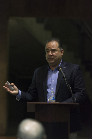"""Dr. Jose R. Almirall, professor with the Department of Chemistry and Biochemistry at Florida International University, speaks during the Forensics Day  """"Demystifying the Forensic Sciences&quo ..."""