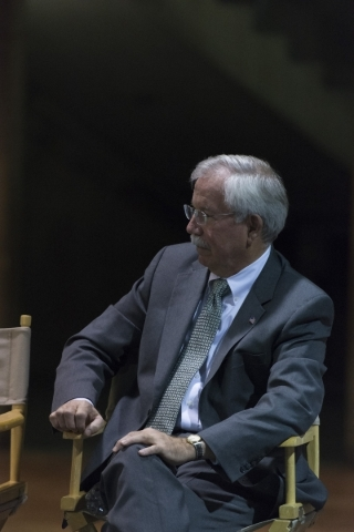 Kenneth E. Melson,  adjunct professor at George Washington University Law School and former acting director of the Bureau of Alcohol, Tobacco, Firearms and Explosives, listens to panelists speak d ...
