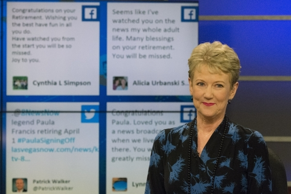 News anchor Paula Francis is seen during the 6 p.m. broadcast at KLAS-TV Channel 8's studio in Las Vegas Wednesday, Feb. 17, 2016. Tweets made by fans are displayed in the background. Franci ...